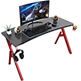 Foxemart 55 inch Gaming Desk, PC Gaming Desk Workstation, Professional Larger Gamer Desk, Powerful Office Computer Game Desk with Cup Holder & Headphone Hook