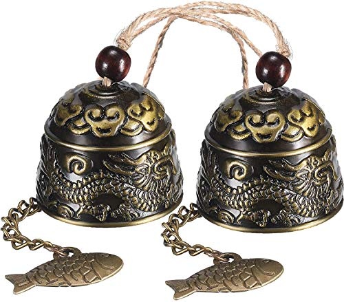 RUIYELE 2Pcs Lucky Fish Feng Shui Bell Wind Chime,Dragon Fortune Blessing Wind Chime Fortune Hanging Wind Chimes Wind-Bell Outdoor Garden Yard Indoor Ornaments Hanging Decorarions