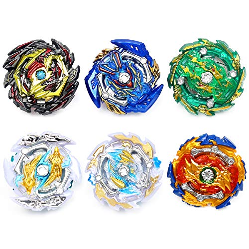 Ingooood Metal Master Fusion Gyro Toys for Kids, 6 Pieces Battling Top Battle Burst High Performance Set with 2 Launchers (H-9B)
