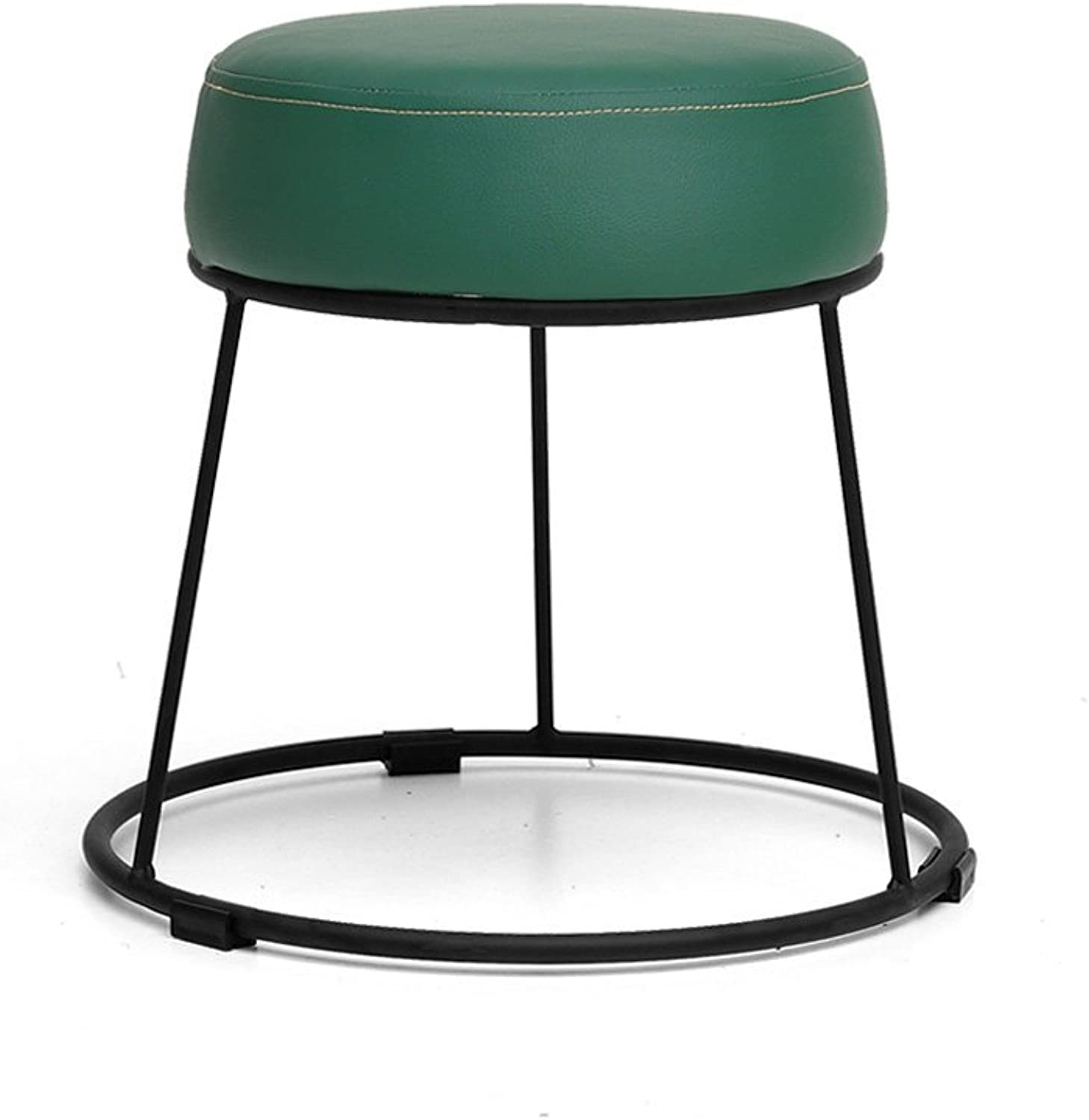 Wrought Iron Creative Stool,Linen Leather Modern Simple Nordic Style Minimalist Multifunctional Living Room Home Bedroom Dining Room Multicolor Stool-J