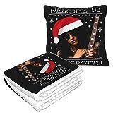 Welcome to The Grotto Slash Christmas - Coperta da viaggio e cuscino 2 in 1, coperta da aereo, cuscino da viaggio e coperta