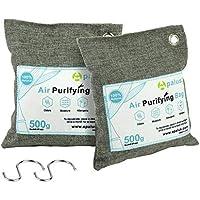 Apalus ® Bolsa de Carbón Activo De Bambú, Deshumidificador Y Purificador De Aire. Ambientador Natural Eficaz y Desodorante para Eliminar los Olores del Automóvil, Sala,Baños, (500Gx2)
