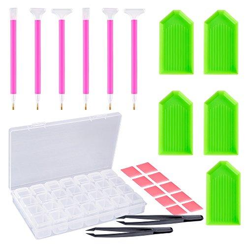 Pllieay - Kit di 24 accessori per comporre quadri fai-da-te con le perline, include 6 strumenti a penna per perline, 2 pinzette, 10 pacchetti di colla, 5 vassoi di plastica e 1 scatola per perline