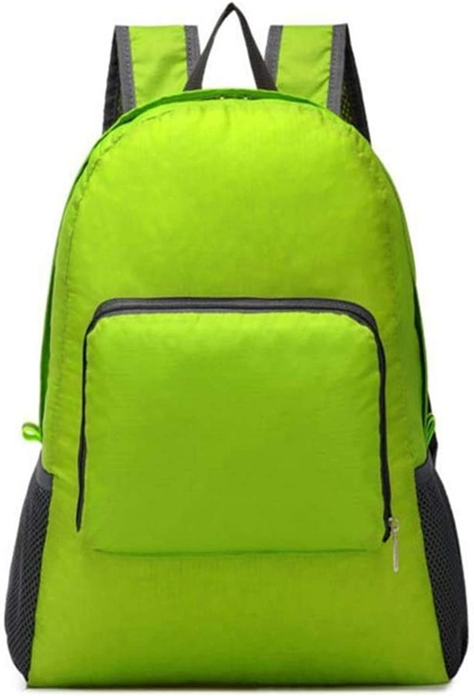 Hyue Fold Shoulder Bag Raincoat Polyester Bag Mountaineering Bag Outdoor Sports Travel Backpack (color   Green)