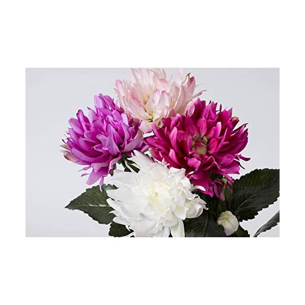 artplants.de Dalia araña Artificial, Blanco, 8 Hojas, 75cm, Ø 14cm – Flor Decorativa – Dahlia sintética