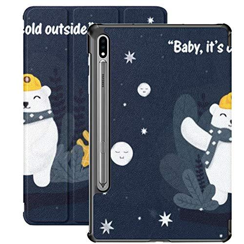 Funda Galaxy Tablet S7 Plus de 12,4 Pulgadas 2020 con Soporte para bolígrafo S, ilustración Vectorial Osos Lindos Animales Divertidos Funda Protectora Delgada con Soporte para Samsung