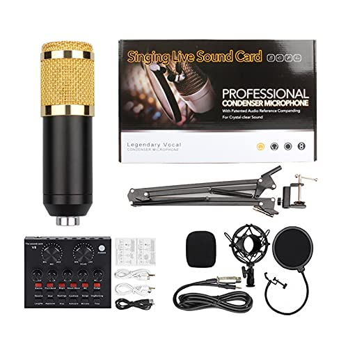 ROM Products Condenser Microphone Bundle,V8 Sound Card BM-800 Condenser Microphonefor Podcast Karaoke Live Streaming Recording Gaming Live Streaming