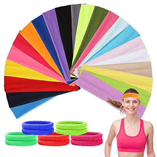 AirSMall 42 Pcs Faben Yoga Stirnband Set 22 Pcs Baumwolle Sport Haarband Dehnbar Feuchtigkeit Wicking Damen Stirnbänder und 20 Pcs Haargummis Geeignet für Gymnastik Pilates Laufen Radfahren
