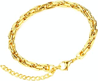 Men Women Gold Figaro Link Chain 4MM Fashion Jewelry Necklaces Stainless Steel 18K Plated,18~26 Inches
