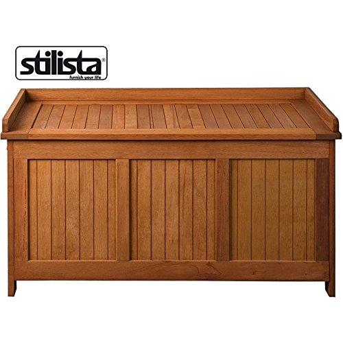 STILISTA® Gartenbank Gartenbox aus 100% FSC zertifiziertem Shorea-Hartholz, geölt, Liftautomatik, inkl. Kissen in Farbe natur, 113 x 52,5 x 60,5 cm, Auflagentruhe - 2