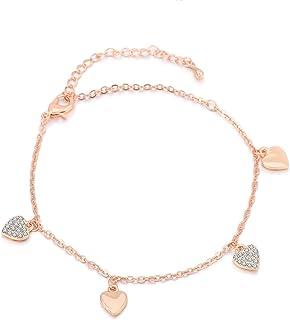 Bracciale per donne, cavigliera bracciale ciondolo fascino ragazze caviglia piede catena caviglia d'oro in argento con cri...