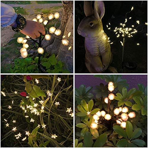 Solar Lights Outdoor Decorative, 2 Pack Solar Powered Garden Lights Christmas Solar Fairy Flower Lights Waterproof for Garden Patio Yard Pathway Christmas Decoration (Warm White)