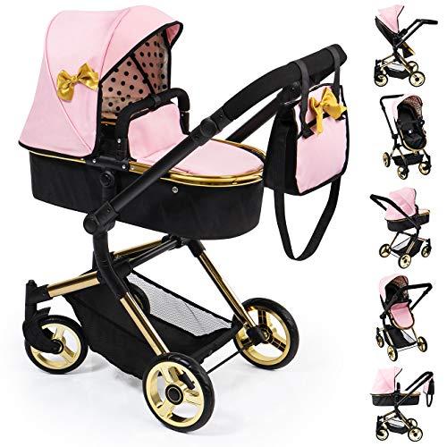 Bayer Design 18490AA Kombi Puppenwagen Neo Vario mit Wickeltasche und Einkaufskorb, umwandelbar in einen Sportwagen, höhenverstellbar, rosa, Gold mit Goldener Schleife, modern