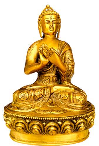 QT S Buddha Brass Statue Praying Darmachakra Sakyamuni Figurine Antique 12 Inch Buddha Idol for Peace Meditation & Protection Buddha Sculpture-Glossy Famous in Nepal India Tibet Thai China & Buddhism