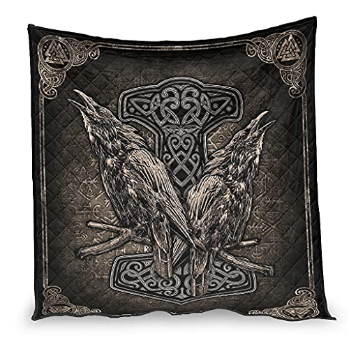 OwlOwlfan Viking Norse Thor Hammer And Ravens Anti Allergy Lightweigt - Manta de viaje hipoalergénica para invierno (200 x 230 cm), color blanco