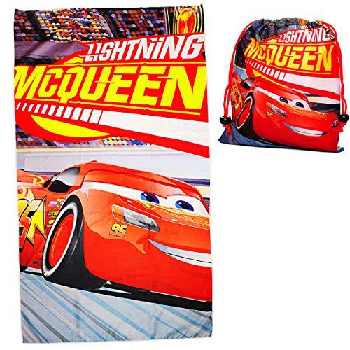 alles-meine.de GmbH 2 TLG. Set _ Badetuch / Strandtuch & Turnbeutel -  Disney Cars - Auto  - 70 cm * 140 cm - Frottee / Velours - Handtuch - Jungen - 70x140 für Kinder - Sportt..
