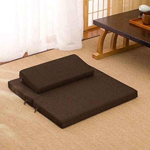 DOOT Japanese-style Seat Cushions,Foldable Thicken Coconut Fiber Core Household Kneeling Mat,Meditation Cushion,Taoist Futon Seat Cushions-Coffee 80x80cm(31x31inch)