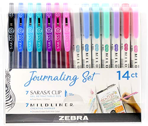 Zebra Pen Journaling Set, Includes 7 Mildliner Highlighters and 7 Sarasa Clip Retractable Gel Ink Pens, Assorted Colors, 14 Pack