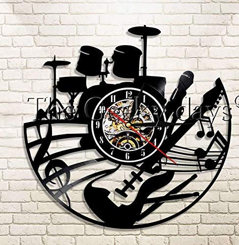 XZXMINGY 30cm Vinyluhr Akustische Musikinstrumente Gitarre und Schlagzeug Kits Schallplatte Wanduhr Gitarrist Rockmusik Modernes Wandbehang Dekor