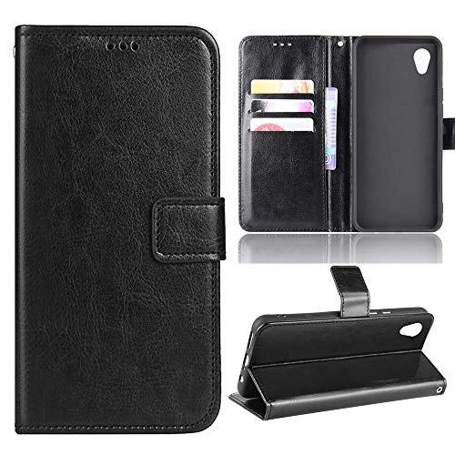 BTShare for ZTE Quest 5 Case, PU Leather Flip Kickstand Wallet Case Protective Cover & Magnetic Snap Card Holder Slots,Black