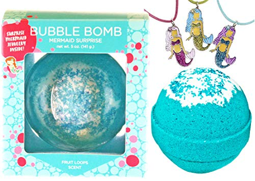 Mermaid Bubble Bath Bomb for Girls with Surprise Kids Necklace Inside by Two Sisters Spa. Large 99% Natural Fizzy in Gift Box. Moisturizes Dry Sensitive Skin. Releases Color, Scent, Bubbles