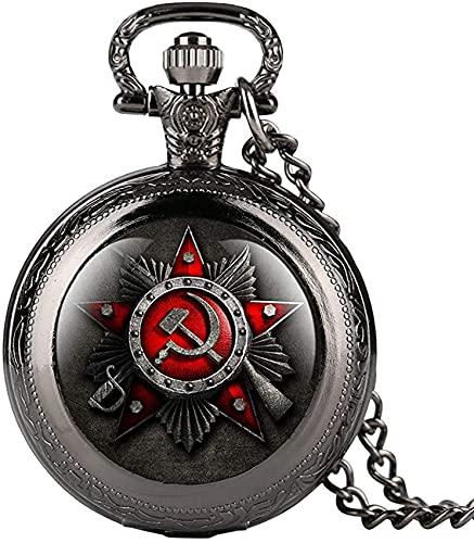 DNGDD Reloj de Bolsillo Reloj de Bolsillo de Cuarzo Negro Vintage para Hombre, Relojes de Bolsillo con diseño de Signo Comunista Creativo para Mujer, Cadena de Reloj de Bolsillo de aleación durade