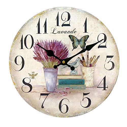 HUABEI Horloge Pendule Murale Silencieuse Style Vintage Fleur Diamètre 30 cm (Lavande-Papillon, 12inch)