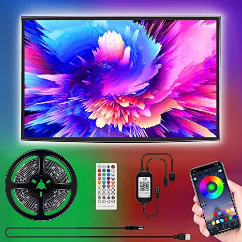 Led TV Hintergrundbeleuchtung, SUNGYIN 3M USB Led Beleuchtung mit Fernbedienung Und DIY Farbwechsel RGB LED Streifen für 46-60 Zoll HDTV,TV,PC Bildschirm [Energy Class A++]