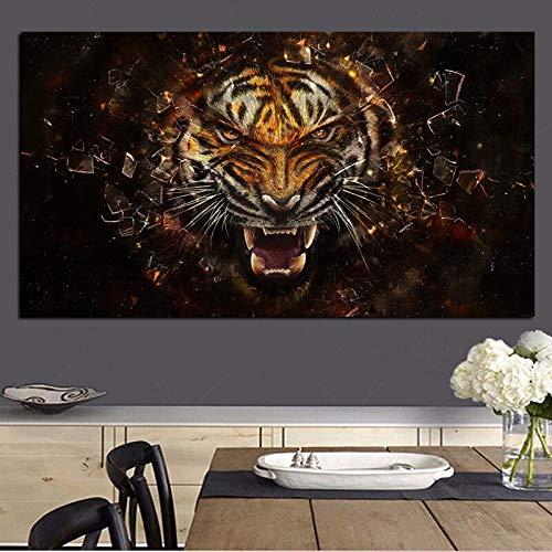 wZUN Arte Pop HD ángulo de impresión Tigre Animal Pintura al óleo Lienzo Cuadro de Pared para Sala de Estar Cartel sofá sofá decoración 60x120 Sin Marco