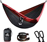 Pro Venture Camping Hammock - Double or Single -2 Tree Straps 2 Carabiners -1 / 2 Person Large Portable Lightweight Gear Parachute Nylon - Backpacking, Travel, Hiking, Outdoor Survival, Backyard,Patio