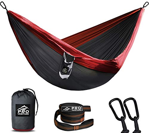 Pro Venture Camping Hammock - Double or Single +2 Tree Straps 2 Carabiners - 1 / 2 Person Portable Lightweight Parachute Nylon 210T - Backpacking, Travel, Hiking, Indoor, Beach, Backyard, Patio