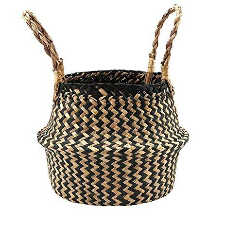 Cesta de cebada marina trenzada para almacenamiento de plantas y cestas de lavandería, picnic y tienda de comestibles, cesta de mimbre de junco marino. Cesta plegable para almacenamiento sucio.