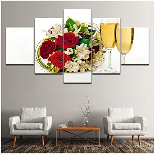 Modern Canvas Schilderij Muur Art Foto Home Decoratie Bloemen Champagne Glas Print -30x40 30x60 30x80cm Geen Frame