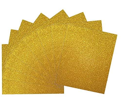"Magical 12""x10"" HTV Glitter Heat Transfer Vinyl, 8 Sheets -Gold Bundle, Iron On T-Shirt Vinyl Transfer Sheets - Best HTV Vinyl for Silhouette Cameo, Heat Press."