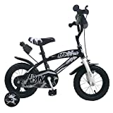 """Bici Bimbo Bicicletta per Bambino 12"""" BMX con Rotelle Borraccia (Nero, 14"""")"""
