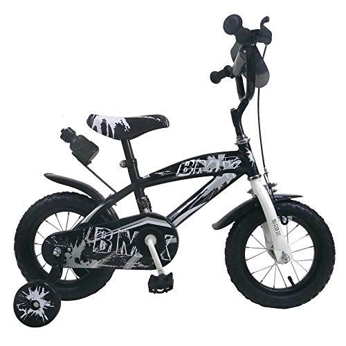Bici Bimbo Bicicletta per Bambino 12' BMX con Rotelle Borraccia (Nero, 16')