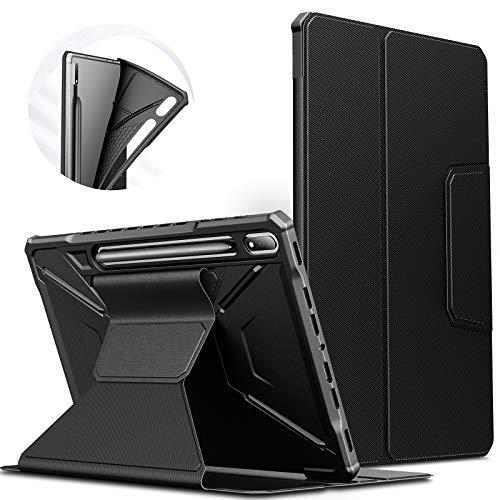 INFILAND Custodia per Samsung Galaxy Tab S7+/S7 Plus 2021, Supporto Anteriore TPU Custodia Cover per Samsung Galaxy Tab S7 Plus 12.4 (T970/T975/T976) 2021, Automatica Svegliati/Sonno,Nero
