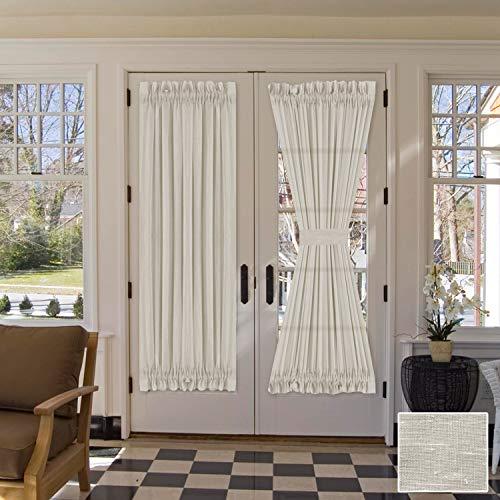 "H.VERSAILTEX Linen French Door Curtains Privacy Light Reducing Door Curtain with Tieback   Rod Pocket Curtain 2 Panels for Glass Door Feature Open Weave Textured Linen - 52""x72"" - Natural"