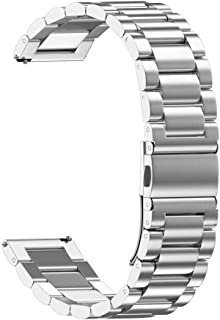 XBKPLO Silver Gold Quick Release Watch Strap Foldover Clasp Closure Stainless Steel Watch Band Replacement Strap Double Button 18MM/20MM/22MM