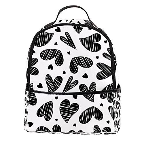 AITAI Mochila de cuero de la PU Doodle corazón sin costuras patrón al aire libre escuela universidad Bookbag fit mochila