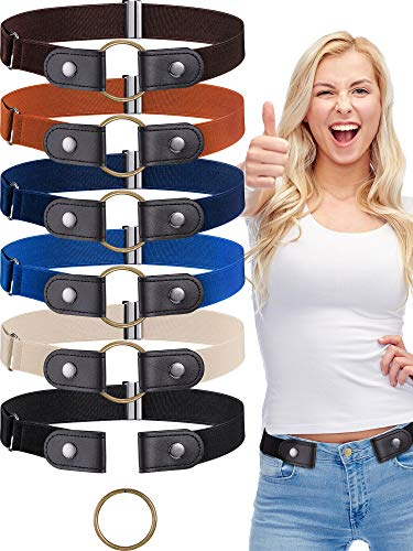 6 Pieces No Buckle Stretch Belt Elastic Invisible Buckless Belt for Jeans Pants (Fits Pants of 22-36 Inch)