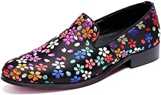 Rui Landed Oxford For Man Formal Shoes Slip On Style High Quality Genuine Leather Lovely Flower Pattern Low Top Round Toe (Color : Pink, Size : G-46)