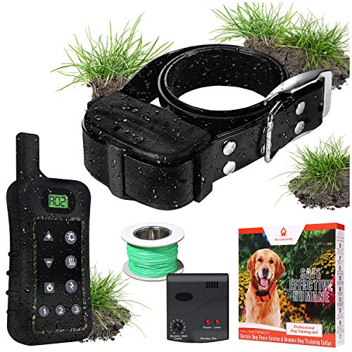 Pet Control HQ Dog Containment System Wireless Perimeter w/ 1 Shock Collar Kit & Remote - Electric Proximity Fence - Above Ground No Digging, or Underground Wire Outdoor Confinement Trainer