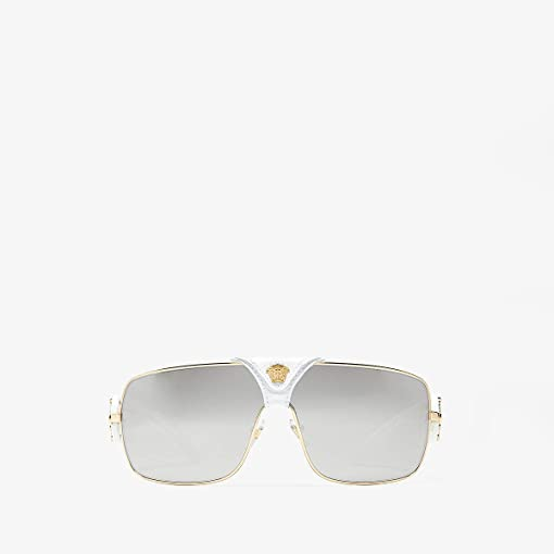 Gold/Medusa/White Leather/Light Grey Mirror Silver