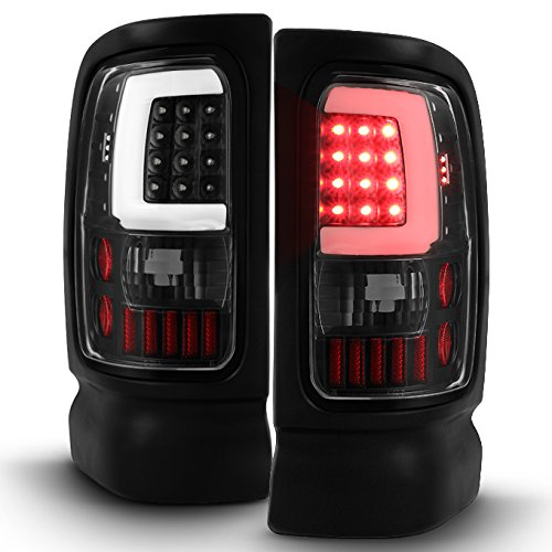 For 1994-2001 Dodge Ram 1500 2500 3500 Black LED Tube Tail Lights Lamps (Driver + Passenger) Pair