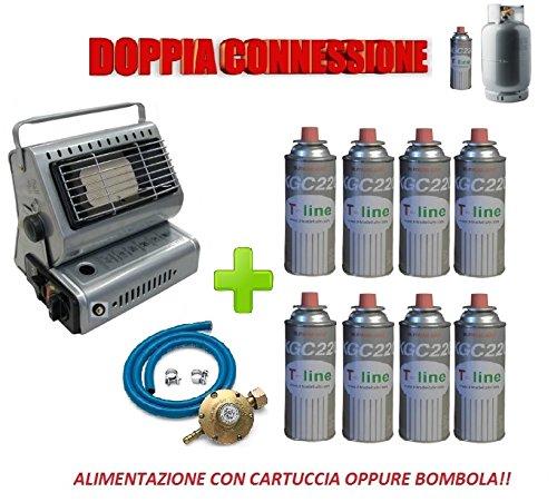 Dubbel mondstuk met cartridge of spoel + 8 gaskoker met 250 gram + kit verdeler BOMBOLA met Italiaanse aansluiting