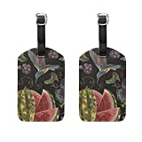 Set of 2 Luggage Tags Embroidery Hummingbird Grapes Watermelon Suitcase Labels