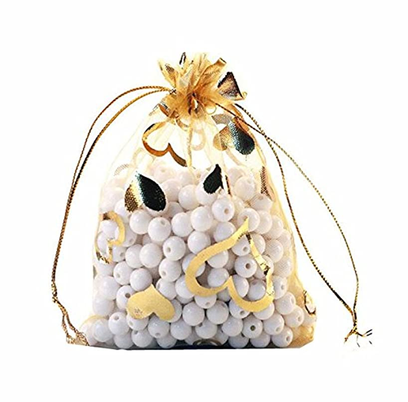 100pcs Organza Wedding Party Gift Bags Heart Pattern Sheer Drawstring Pouches Jewelry Gift Bags Christmas Party Gift Favor Bags (gold, 3