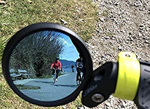 Hafny Bar End Bike Mirror, HD, Blast-Resistant, Glass Mirror, HF- MR090 (62mm Diameter Blue Glass)