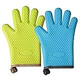 1 par de guantes de horno de silicona, resistentes al calor, antideslizantes, guantes de horno de seguridad, guantes de horno para cocinar, hornear, almohadillas aislantes para barbacoa